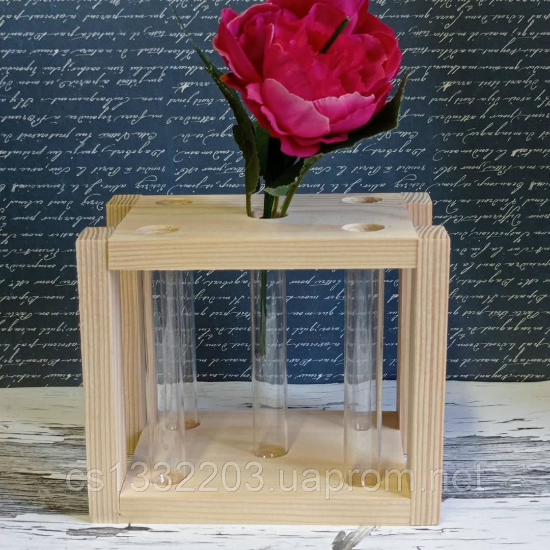 Дерев'яна підставка для квітів (5 скляних колби) 13*9*11см