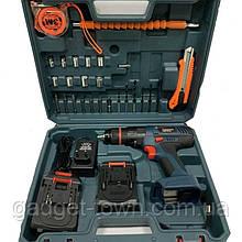 Аккумуляторный шуруповертBOSCH GSB-24-2Li c набором инструментов и гибким валом Бош в кейсе