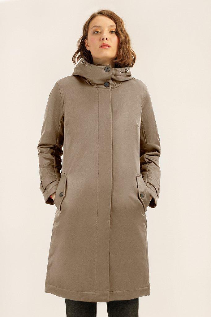 Женская длинная куртка Finn Flare демисезонная с капюшоном A19-11029-623 светло-коричневая