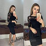 Красиве ніжне плаття з креп дайвінгу з набивним гіпюром S 42-44/ М 46-48, фото 3