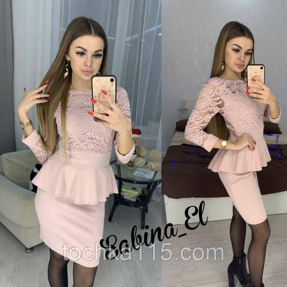 Красиве ніжне плаття з креп дайвінгу з набивним гіпюром S 42-44/ М 46-48
