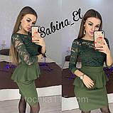 Красиве ніжне плаття з креп дайвінгу з набивним гіпюром S 42-44/ М 46-48, фото 4