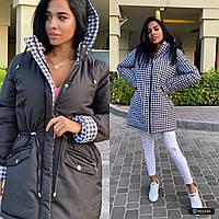Женская стильная куртка-парка двухсторонняя с капюшоном