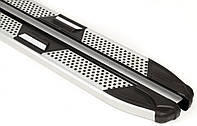 Hyundai Tucson TL 2016↗ гг. Боковые пороги Mevsim Grey (2 шт., алюминий)