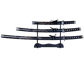 Набор сувенирных катан 2190 три меча в ножнах с подставкой