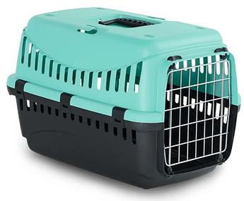 Контейнер-переноска для собак і котів з металевої дверима Gipsy 1 Small Metal блакитний 44x28,5x29,5h см