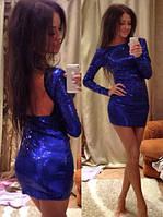 Клубное платье из пайеток с открытой спиной, фото 1