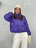 Жіноче зимове пальто на запах під пояс з накладними кишенями зі спущеними кишенями, фото 2
