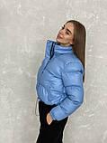 Жіноче зимове пальто на запах під пояс з накладними кишенями зі спущеними кишенями, фото 6