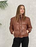 Жіноче зимове пальто на запах під пояс з накладними кишенями зі спущеними кишенями, фото 4
