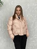 Жіноче зимове пальто на запах під пояс з накладними кишенями зі спущеними кишенями, фото 9