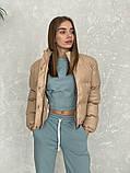 Жіноче зимове пальто на запах під пояс з накладними кишенями зі спущеними кишенями, фото 10