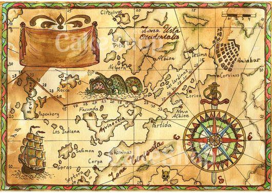 Вафельная картинка Карта
