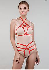 Бюст-портупея жіночий червоного кольору. ТМ Balconette. One size