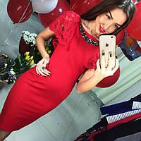 Эксклюзивное вечернее платье с украшением, красное