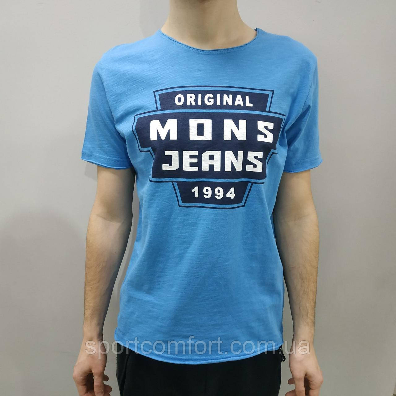 Мужская футболка Mons Jeans голубая, мята, серая, горчица, белая