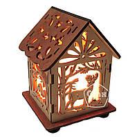 Соляная лампа светильник Домик Куб Олень
