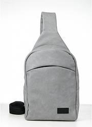 Сумка через плече слінг Sambag Brooklyn MQH світло-сірий нубук