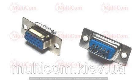 01-05-066. Гнездо 15pin (VGA) 3-х рядное под кабель, под пайку
