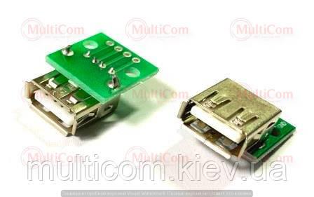 01-08-038. Гніздо USB тип A, монтажне з платою