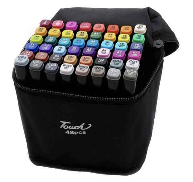 Набір двосторонніх маркерів Touch Art для малювання і скетчинга на спиртовій основі 48 штук