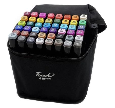 Набір двосторонніх маркерів Touch Art для малювання і скетчинга на спиртовій основі 48 штук, фото 2