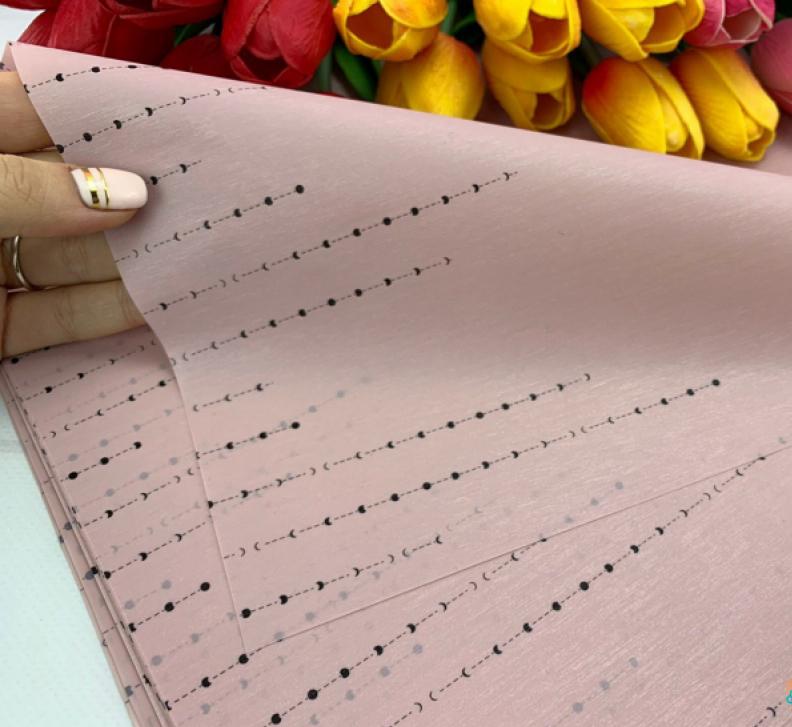 Калька для упаковки квітів Мерехтіння золоті точки рожева, 20 аркушів