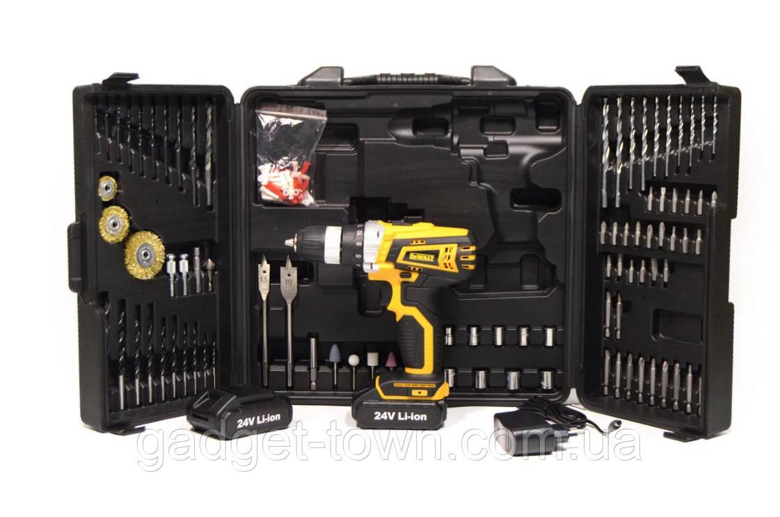 Акумуляторний Шуруповерт DeWALT DCD791 (24V 5A/h Li-Ion) з великим набором інструментів для свердління