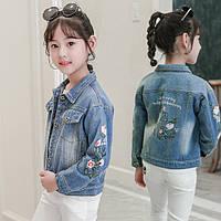 Детская джинсовка для девочки 5 лет - 10 лет, размеры 120, 130, 140, 150, 160