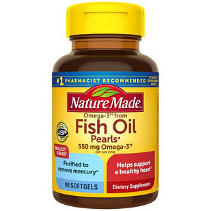 Nature Made Omega-3 from Fish Oil Pearls супер маленькі капсули mg 550 90 ЖК