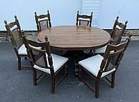 Овальный стол из массива дуба со стульями. Германия