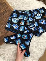 """Набор нижнего белья для пары: боксеры и трусики с веселым принтом """"Коты"""" на подарок"""