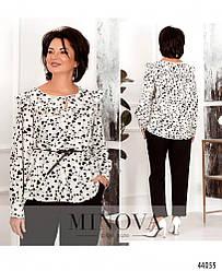 Яскрава блуза батал з оборками на грудях та декором Размеры: 44-46,48-50,52-54