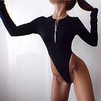 Боди женское черное с молнией на груди и высокими вырезами (р.S-L) 68BO467