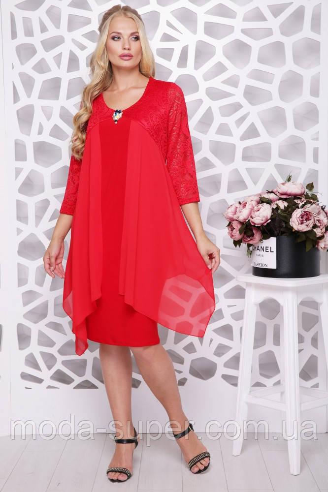 Платье женское с шифоном и гипюром украшенно брошью рр 50-58