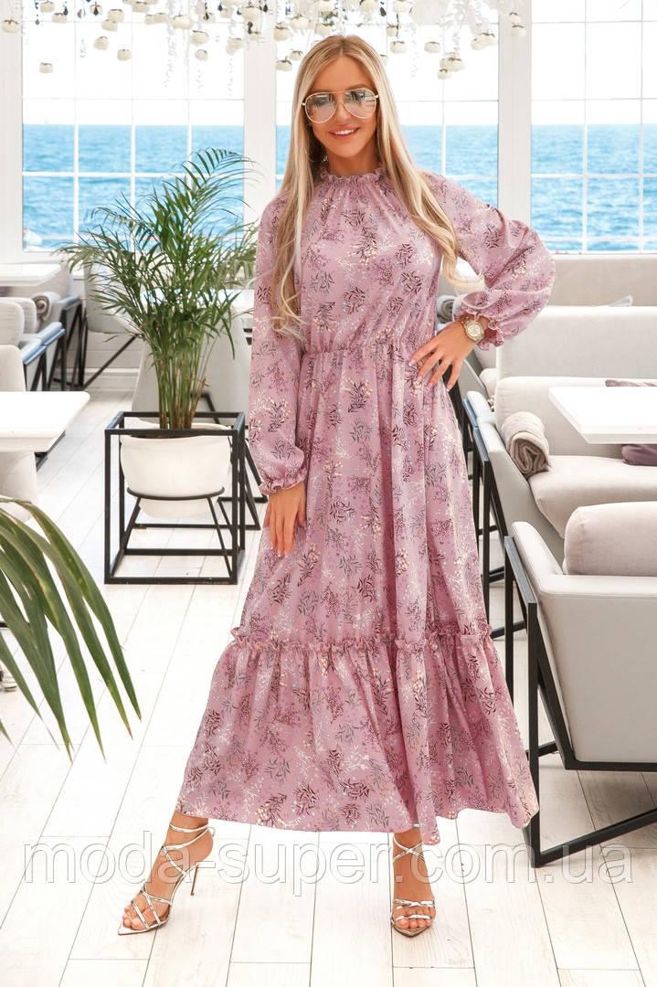 Нежное платье с манжетами на рукавах и горловине рр 42-48