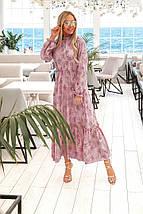 Нежное платье с манжетами на рукавах и горловине рр 42-48, фото 3