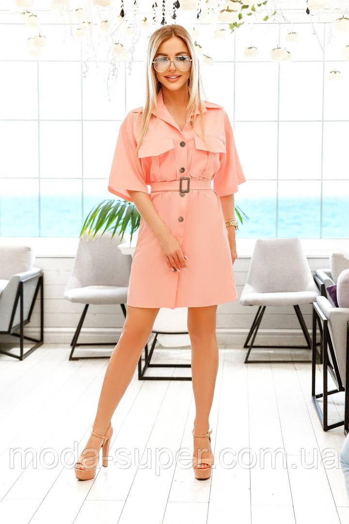 Женское платье рубашка с карманами на груди рр 42-52