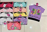 Дитяча футболка для дівчинки з малюнком на манжеті розмір 5-8 років, колір уточнюйте при замовленні