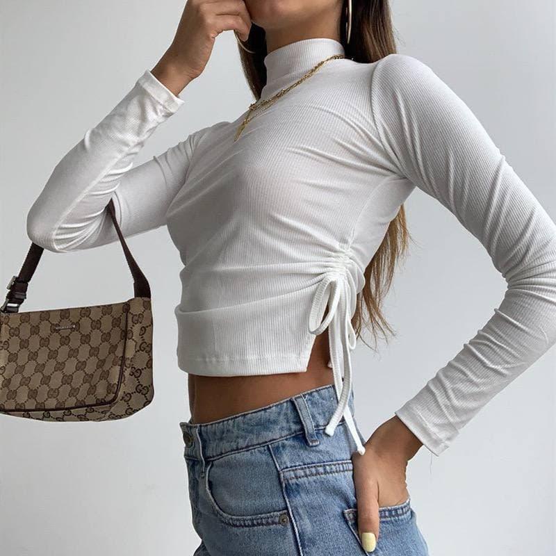Жіноча кофта з трикотажу рубчик з затяжками з боків і коміром стійкою (р. 42-44) 80sv1101