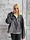 Демисезонная куртка кожанка короткая с отложным воротником и накладными карманами (р. 42-46) 72kr594, фото 4
