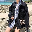 Джинсовая куртка женская в черном цвете в фасоне оверсайз (р. 42-46) 83kr598, фото 3