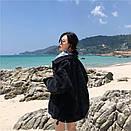 Джинсовая куртка женская в черном цвете в фасоне оверсайз (р. 42-46) 83kr598, фото 4