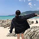 Джинсовая куртка женская в черном цвете в фасоне оверсайз (р. 42-46) 83kr598, фото 5