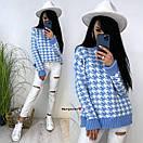 Вязаный свитер с принтом гусиная лапка с манжетами и воротником (р. 42-52) 9sv1111, фото 2