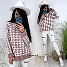 Вязаный свитер с принтом гусиная лапка с манжетами и воротником (р. 42-52) 9sv1111, фото 6