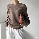 Женский свитер вязаный кроя оверсайз с рукавом регланом (р. 42-46) 77sv1112, фото 3