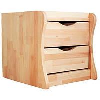 Тумба мобільна в дитячу на 2 ящики дерев'яні з бука ТМ Mobler, фото 1