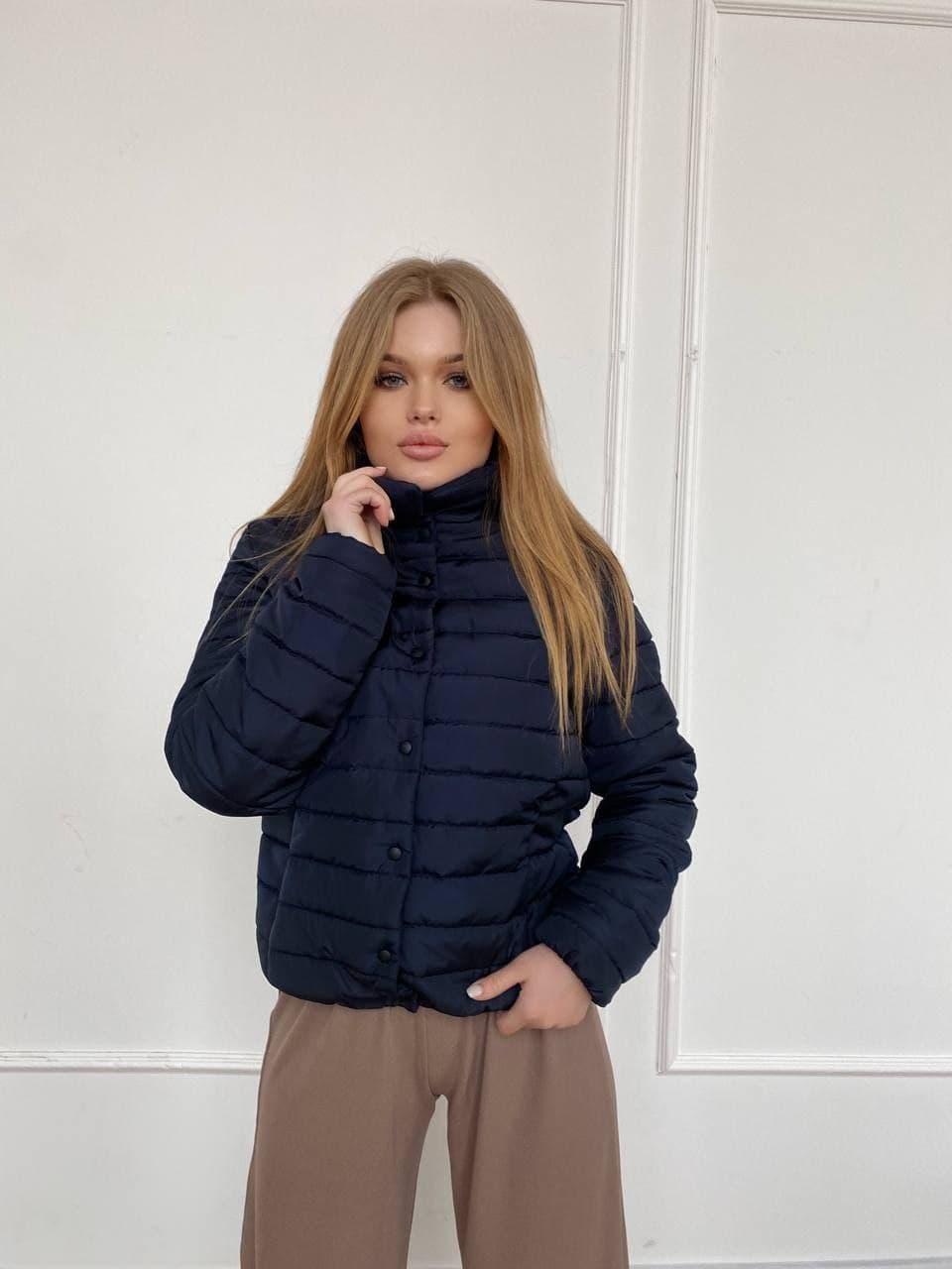 Куртка демисезонная стеганая с воротником стойкой трендовая на кнопках (р. 42 - 44) 84kr602