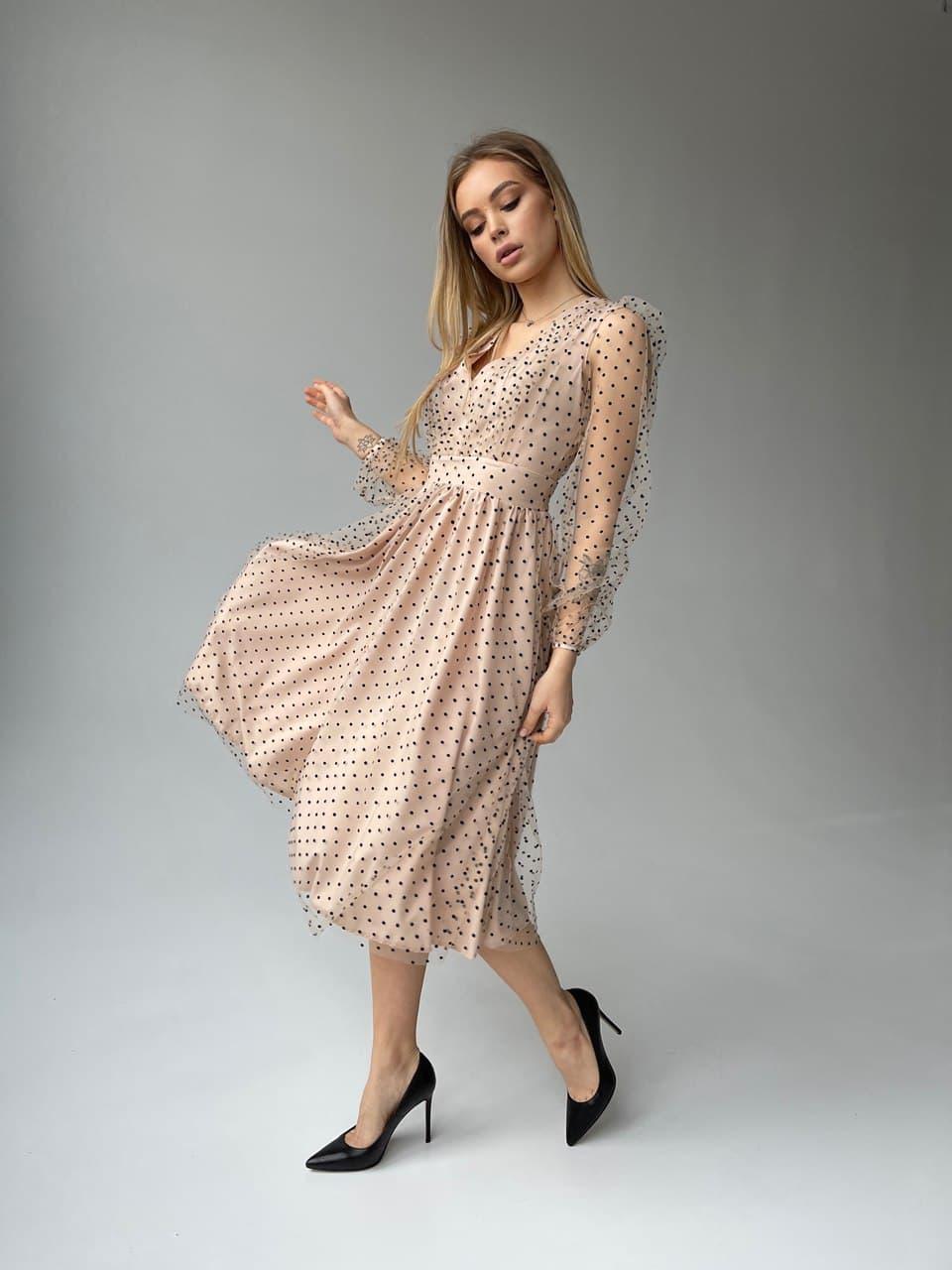 Сукня з сітки в горошок на підкладі довжиною міді і рукавами-ліхтариками (р. S, М) 66py2057Q